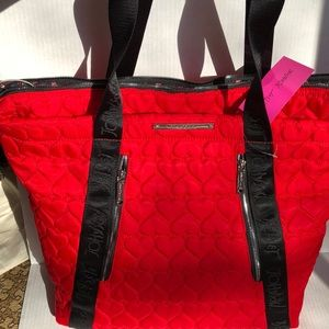 Betsey Johnson Quilted Red Heart Weekender Bag